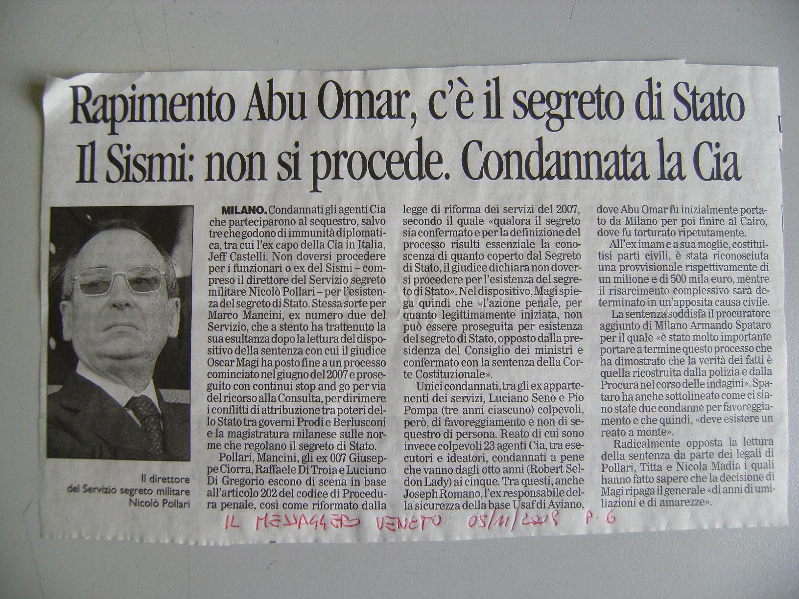 Rapimento Abu Omar c'è il Segreto di Stato. Il Sismii: non si procede. Condannata la Cia