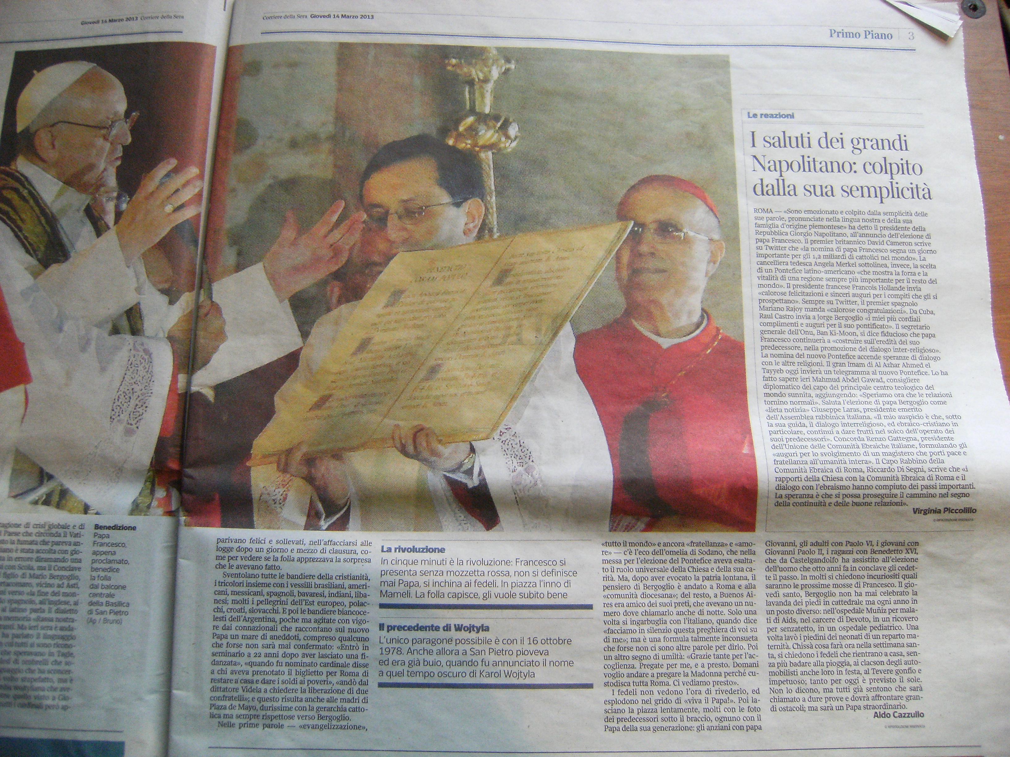 corriere della sera del 14 marzo 2013 pagina 2 pagina 3 pagina 5 pagina 6 pagina 8 pagina 9 pagina 10 pagina 11 pagina 12 pagina 13